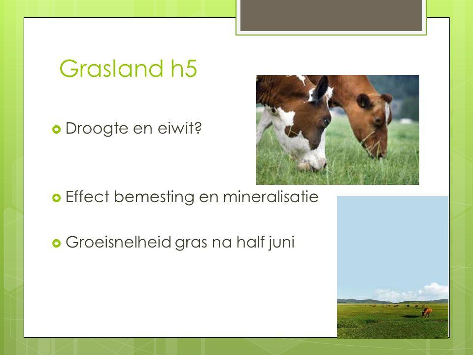 Grasland h5  Droogte en eiwit?  Effect bemesting en mineralisatie  Groeisnelheid gras na half juni