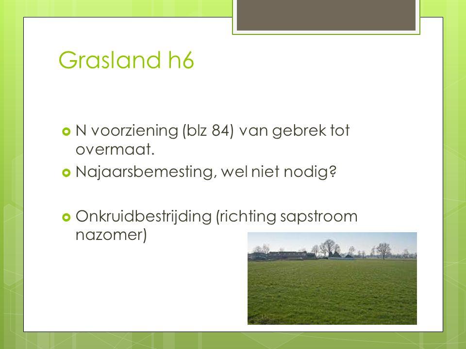 Grasland h6  N voorziening (blz 84) van gebrek tot overmaat.  Najaarsbemesting, wel niet nodig?  Onkruidbestrijding (richting sapstroom nazomer)