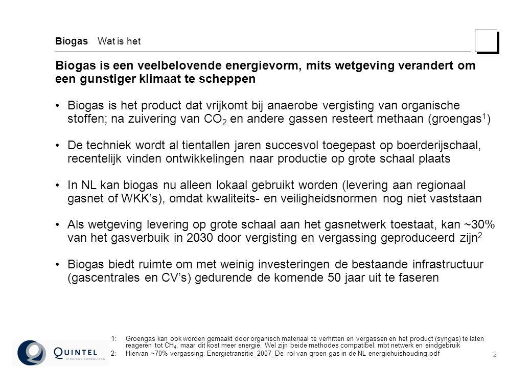 2 Biogas Wat is het Biogas is een veelbelovende energievorm, mits wetgeving verandert om een gunstiger klimaat te scheppen Biogas is het product dat vrijkomt bij anaerobe vergisting van organische stoffen; na zuivering van CO 2 en andere gassen resteert methaan (groengas 1 ) De techniek wordt al tientallen jaren succesvol toegepast op boerderijschaal, recentelijk vinden ontwikkelingen naar productie op grote schaal plaats In NL kan biogas nu alleen lokaal gebruikt worden (levering aan regionaal gasnet of WKK's), omdat kwaliteits- en veiligheidsnormen nog niet vaststaan Als wetgeving levering op grote schaal aan het gasnetwerk toestaat, kan ~30% van het gasverbuik in 2030 door vergisting en vergassing geproduceerd zijn 2 Biogas biedt ruimte om met weinig investeringen de bestaande infrastructuur (gascentrales en CV's) gedurende de komende 50 jaar uit te faseren 1:Groengas kan ook worden gemaakt door organisch materiaal te verhitten en vergassen en het product (syngas) te laten reageren tot CH 4, maar dit kost meer energie.