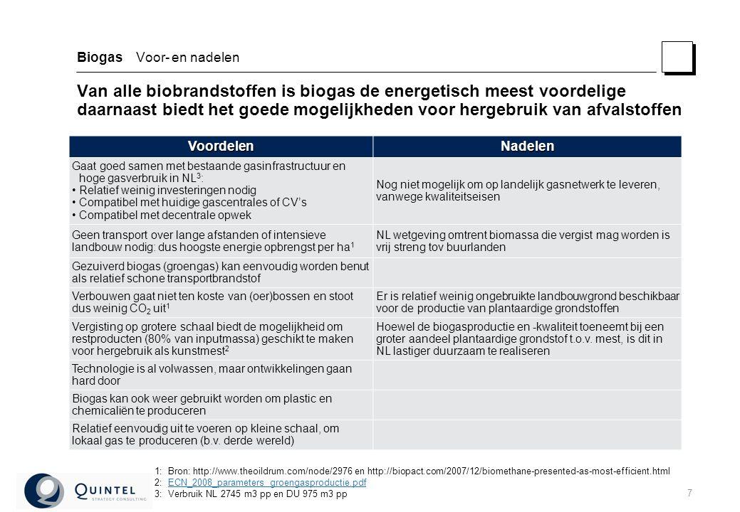 7 Biogas Voor- en nadelen Van alle biobrandstoffen is biogas de energetisch meest voordelige daarnaast biedt het goede mogelijkheden voor hergebruik van afvalstoffen 1:Bron: http://www.theoildrum.com/node/2976 en http://biopact.com/2007/12/biomethane-presented-as-most-efficient.html 2:ECN_2008_parameters groengasproductie.pdfECN_2008_parameters groengasproductie.pdf 3:Verbruik NL 2745 m3 pp en DU 975 m3 pp VoordelenNadelen Gaat goed samen met bestaande gasinfrastructuur en hoge gasverbruik in NL 3 : Relatief weinig investeringen nodig Compatibel met huidige gascentrales of CV's Compatibel met decentrale opwek Nog niet mogelijk om op landelijk gasnetwerk te leveren, vanwege kwaliteitseisen Geen transport over lange afstanden of intensieve landbouw nodig: dus hoogste energie opbrengst per ha 1 NL wetgeving omtrent biomassa die vergist mag worden is vrij streng tov buurlanden Gezuiverd biogas (groengas) kan eenvoudig worden benut als relatief schone transportbrandstof Verbouwen gaat niet ten koste van (oer)bossen en stoot dus weinig CO 2 uit 1 Er is relatief weinig ongebruikte landbouwgrond beschikbaar voor de productie van plantaardige grondstoffen Vergisting op grotere schaal biedt de mogelijkheid om restproducten (80% van inputmassa) geschikt te maken voor hergebruik als kunstmest 2 Hoewel de biogasproductie en -kwaliteit toeneemt bij een groter aandeel plantaardige grondstof t.o.v.