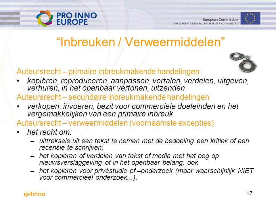 """ip4inno 17 """"Inbreuken / Verweermiddelen"""" Auteursrecht – primaire inbreukmakende handelingen kopiëren, reproduceren, aanpassen, vertalen, verdelen, uit"""