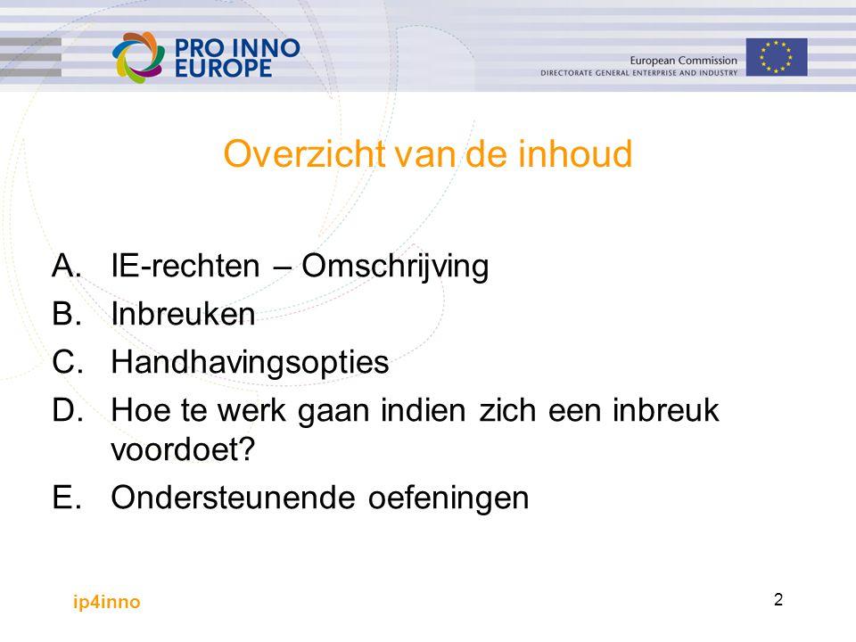 ip4inno 2 Overzicht van de inhoud A.IE-rechten – Omschrijving B.Inbreuken C. Handhavingsopties D.Hoe te werk gaan indien zich een inbreuk voordoet? E.