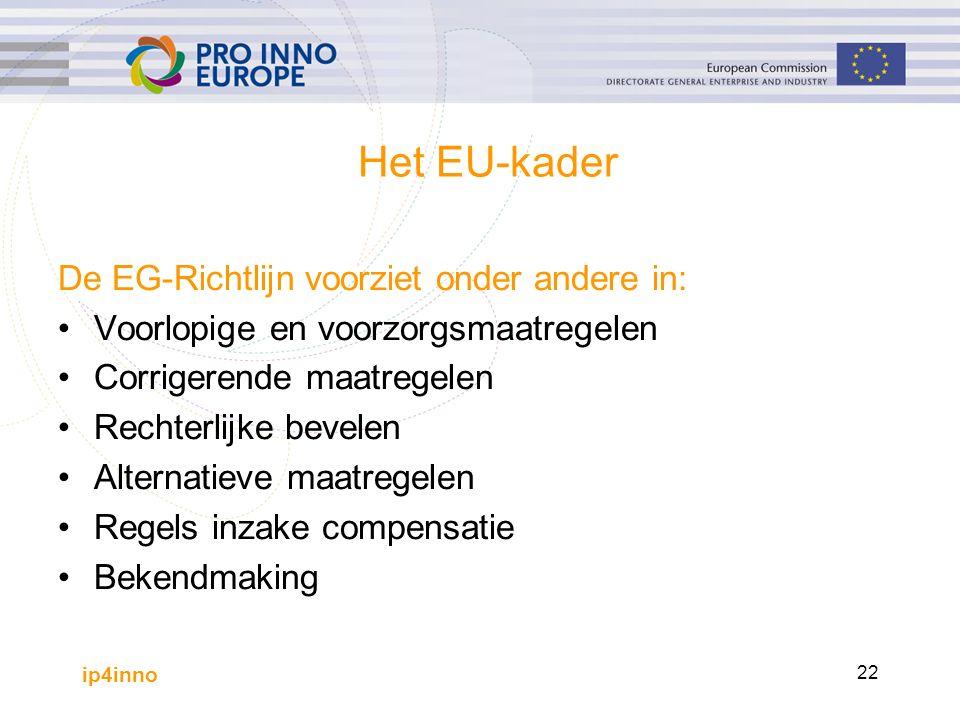 ip4inno 22 Het EU-kader De EG-Richtlijn voorziet onder andere in: Voorlopige en voorzorgsmaatregelen Corrigerende maatregelen Rechterlijke bevelen Alternatieve maatregelen Regels inzake compensatie Bekendmaking