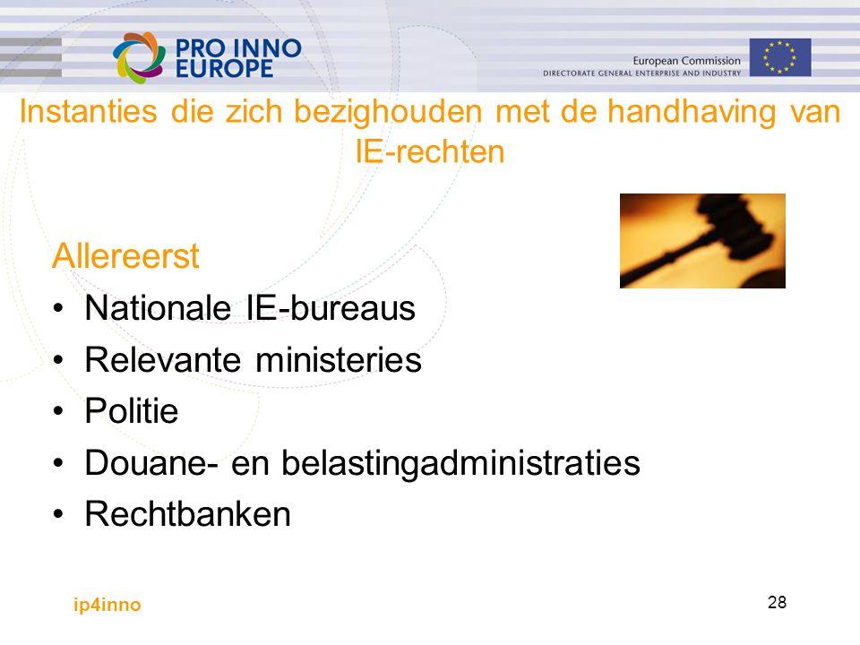 ip4inno 28 Instanties die zich bezighouden met de handhaving van IE-rechten Allereerst Nationale IE-bureaus Relevante ministeries Politie Douane- en belastingadministraties Rechtbanken