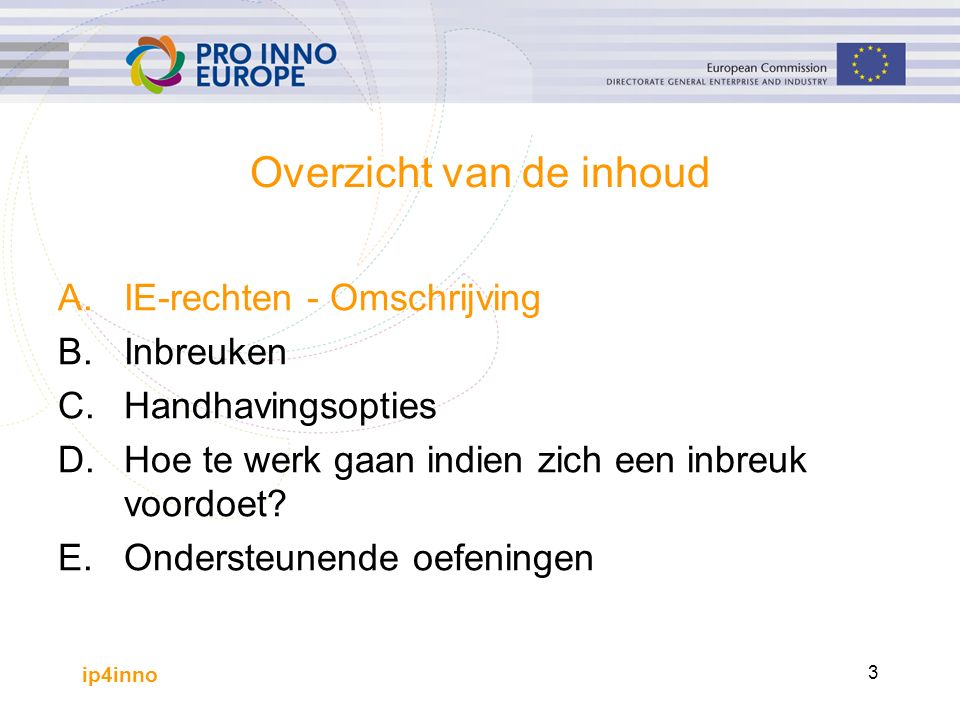 ip4inno 3 Overzicht van de inhoud A.IE-rechten - Omschrijving B.Inbreuken C. Handhavingsopties D.Hoe te werk gaan indien zich een inbreuk voordoet? E.