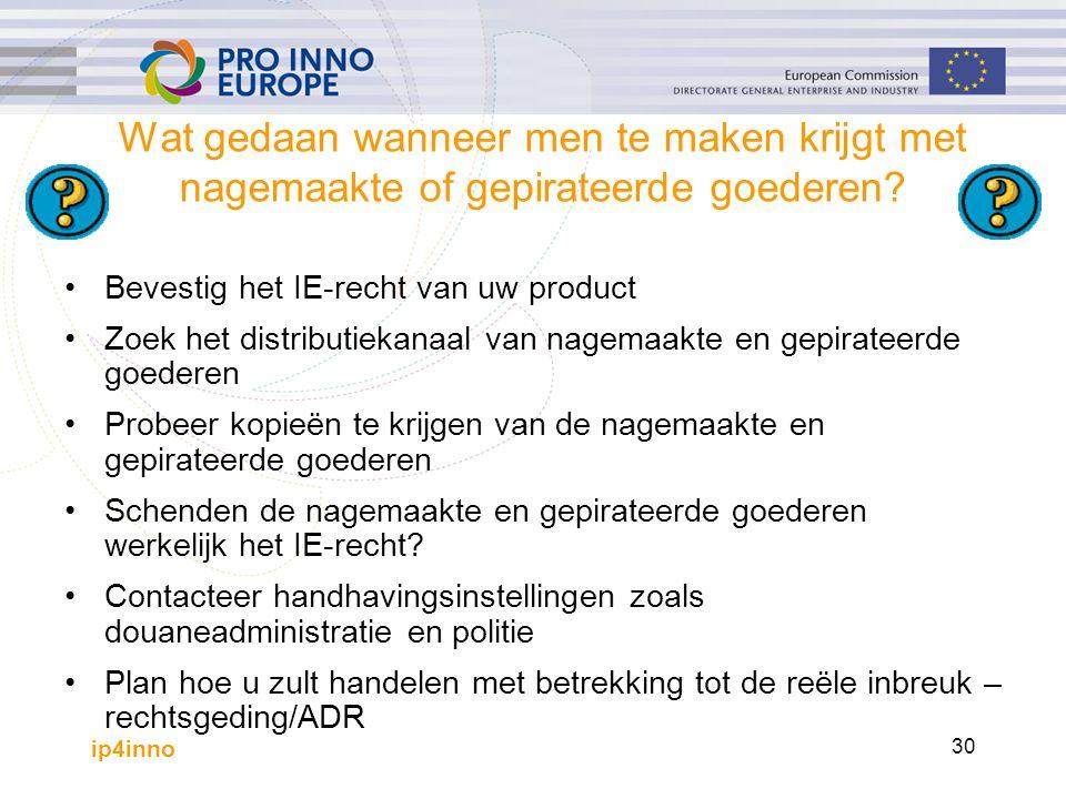 ip4inno 30 Wat gedaan wanneer men te maken krijgt met nagemaakte of gepirateerde goederen? Bevestig het IE-recht van uw product Zoek het distributieka