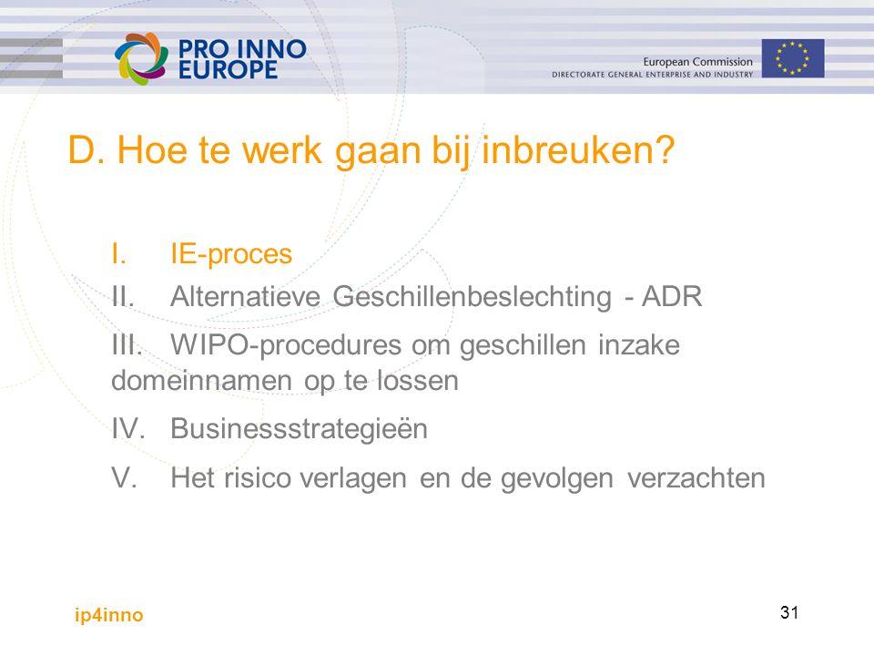 ip4inno 31 D. Hoe te werk gaan bij inbreuken? I.IE-proces II.Alternatieve Geschillenbeslechting - ADR III.WIPO-procedures om geschillen inzake domeinn