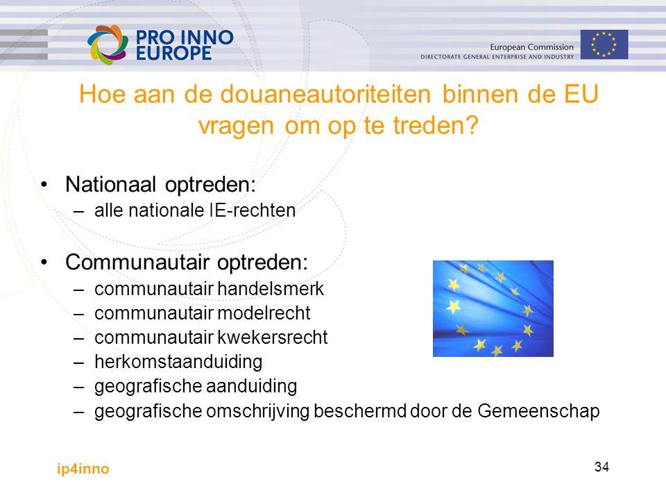 ip4inno 34 Hoe aan de douaneautoriteiten binnen de EU vragen om op te treden? Nationaal optreden: –alle nationale IE-rechten Communautair optreden: –c