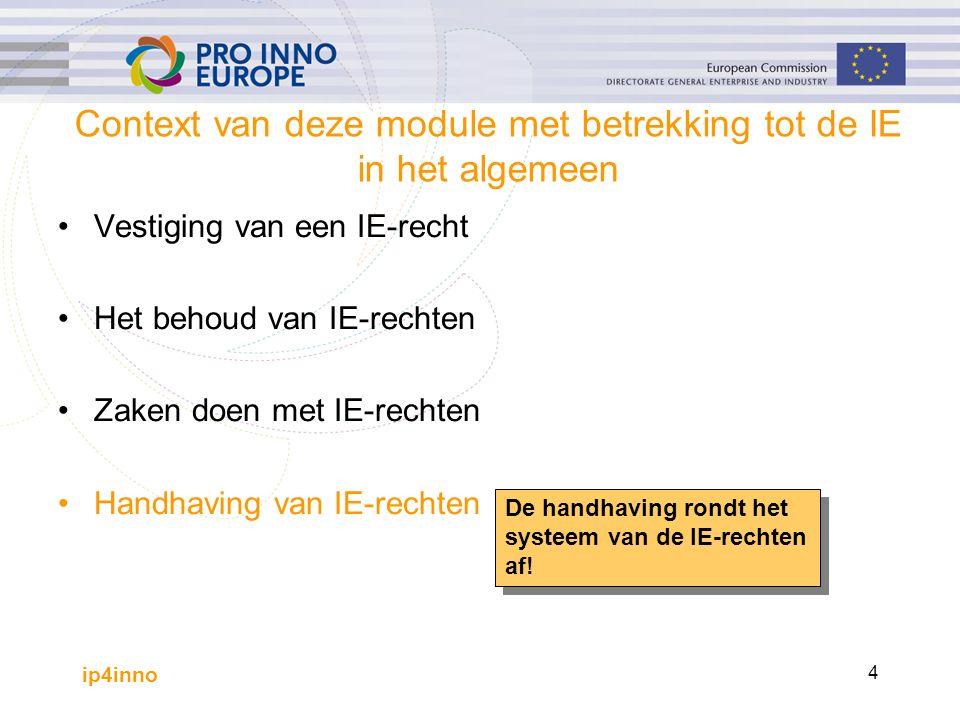ip4inno 4 Context van deze module met betrekking tot de IE in het algemeen Vestiging van een IE-recht Het behoud van IE-rechten Zaken doen met IE-rechten Handhaving van IE-rechten De handhaving rondt het systeem van de IE-rechten af!