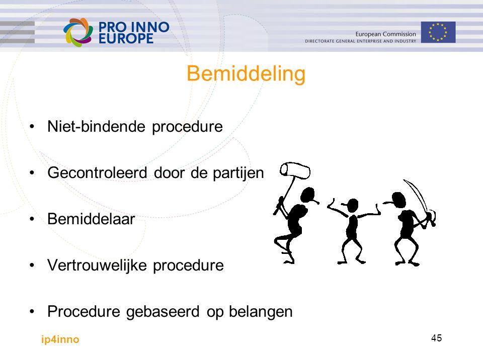 ip4inno 45 Bemiddeling Niet-bindende procedure Gecontroleerd door de partijen Bemiddelaar Vertrouwelijke procedure Procedure gebaseerd op belangen