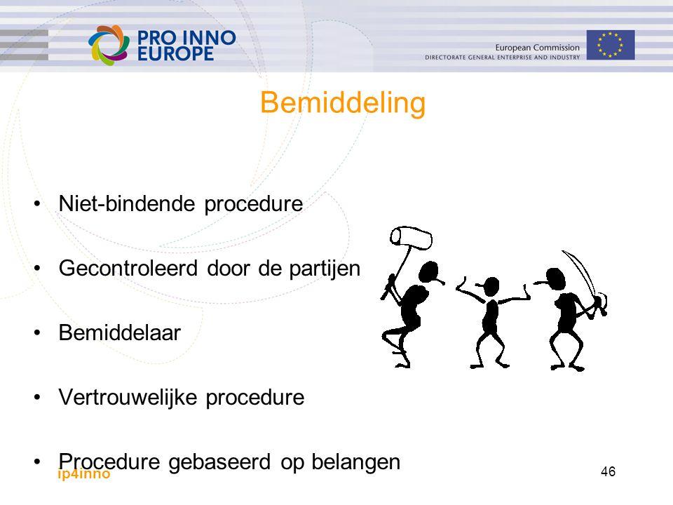 ip4inno 46 Bemiddeling Niet-bindende procedure Gecontroleerd door de partijen Bemiddelaar Vertrouwelijke procedure Procedure gebaseerd op belangen