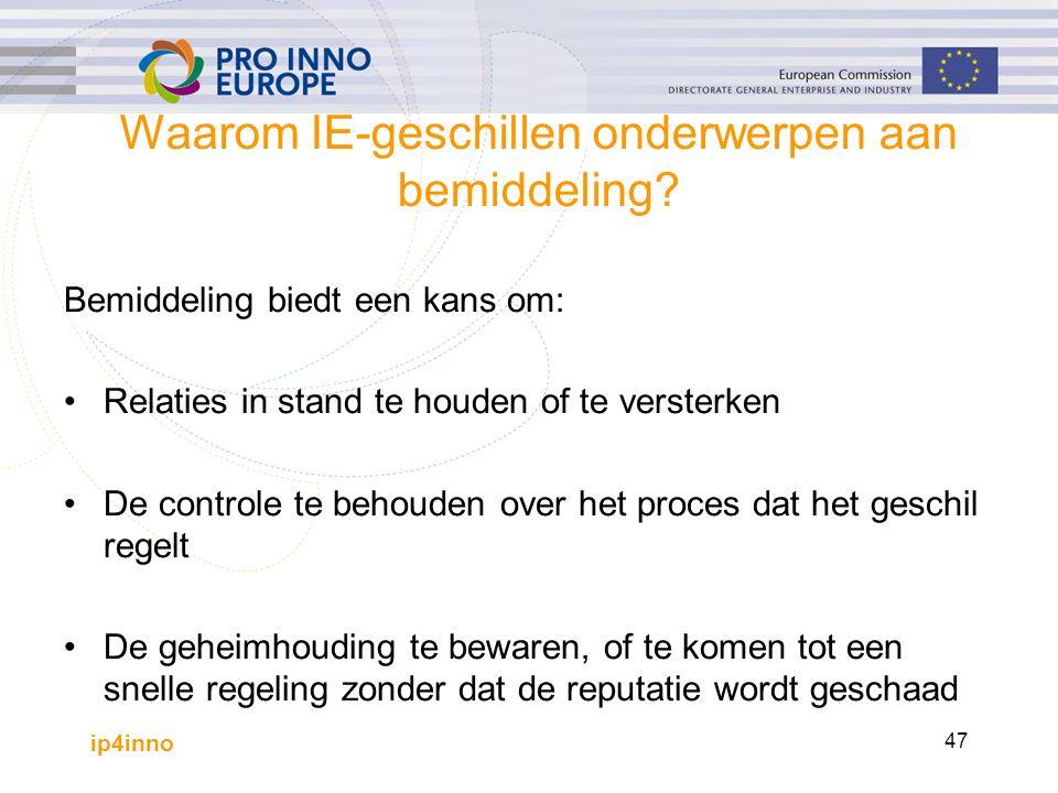ip4inno 47 Waarom IE-geschillen onderwerpen aan bemiddeling? Bemiddeling biedt een kans om: Relaties in stand te houden of te versterken De controle t