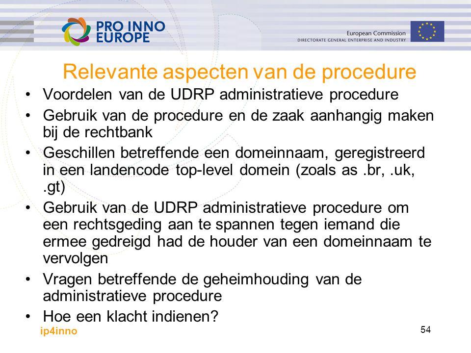 ip4inno 54 Relevante aspecten van de procedure Voordelen van de UDRP administratieve procedure Gebruik van de procedure en de zaak aanhangig maken bij de rechtbank Geschillen betreffende een domeinnaam, geregistreerd in een landencode top-level domein (zoals as.br,.uk,.gt) Gebruik van de UDRP administratieve procedure om een rechtsgeding aan te spannen tegen iemand die ermee gedreigd had de houder van een domeinnaam te vervolgen Vragen betreffende de geheimhouding van de administratieve procedure Hoe een klacht indienen