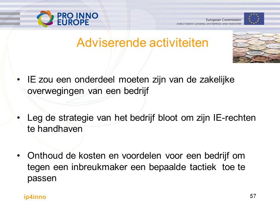 ip4inno 57 Adviserende activiteiten IE zou een onderdeel moeten zijn van de zakelijke overwegingen van een bedrijf Leg de strategie van het bedrijf bloot om zijn IE-rechten te handhaven Onthoud de kosten en voordelen voor een bedrijf om tegen een inbreukmaker een bepaalde tactiek toe te passen