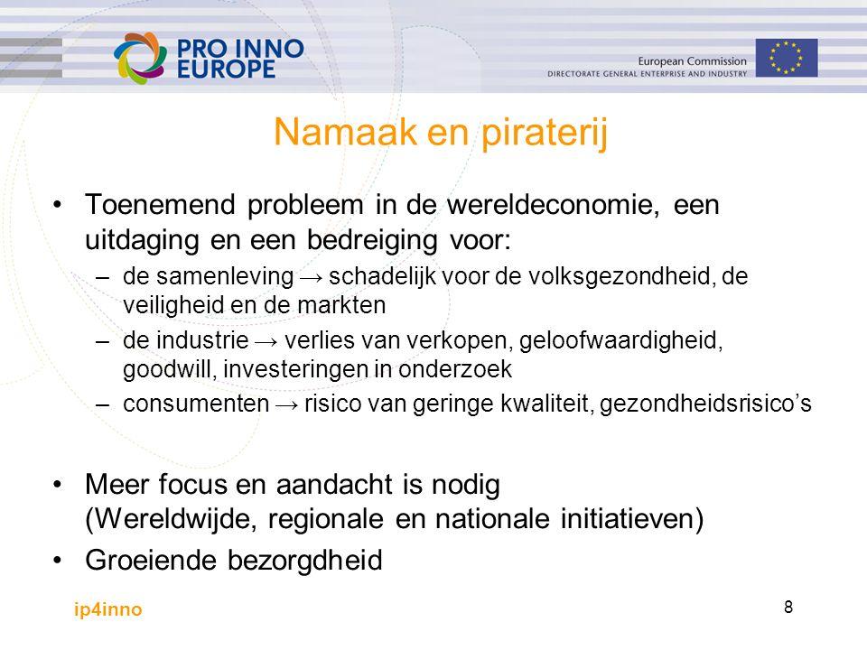 ip4inno 8 Namaak en piraterij Toenemend probleem in de wereldeconomie, een uitdaging en een bedreiging voor: –de samenleving → schadelijk voor de volksgezondheid, de veiligheid en de markten –de industrie → verlies van verkopen, geloofwaardigheid, goodwill, investeringen in onderzoek –consumenten → risico van geringe kwaliteit, gezondheidsrisico's Meer focus en aandacht is nodig (Wereldwijde, regionale en nationale initiatieven) Groeiende bezorgdheid