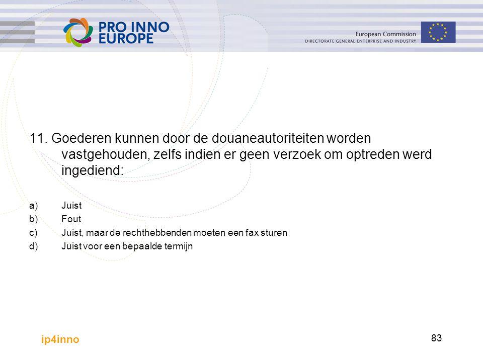 ip4inno 83 11. Goederen kunnen door de douaneautoriteiten worden vastgehouden, zelfs indien er geen verzoek om optreden werd ingediend: a)Juist b)Fout