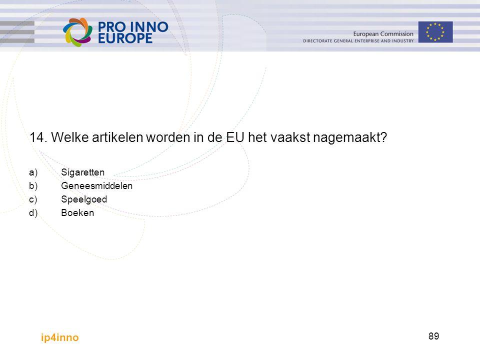 ip4inno 89 14. Welke artikelen worden in de EU het vaakst nagemaakt? a)Sigaretten b)Geneesmiddelen c)Speelgoed d)Boeken