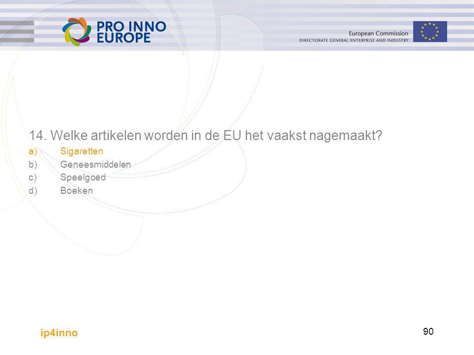 ip4inno 90 14. Welke artikelen worden in de EU het vaakst nagemaakt? a)Sigaretten b)Geneesmiddelen c)Speelgoed d)Boeken