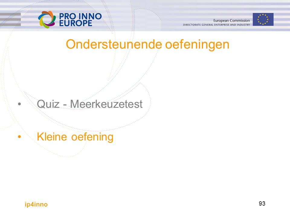 ip4inno 93 Ondersteunende oefeningen Quiz - Meerkeuzetest Kleine oefening