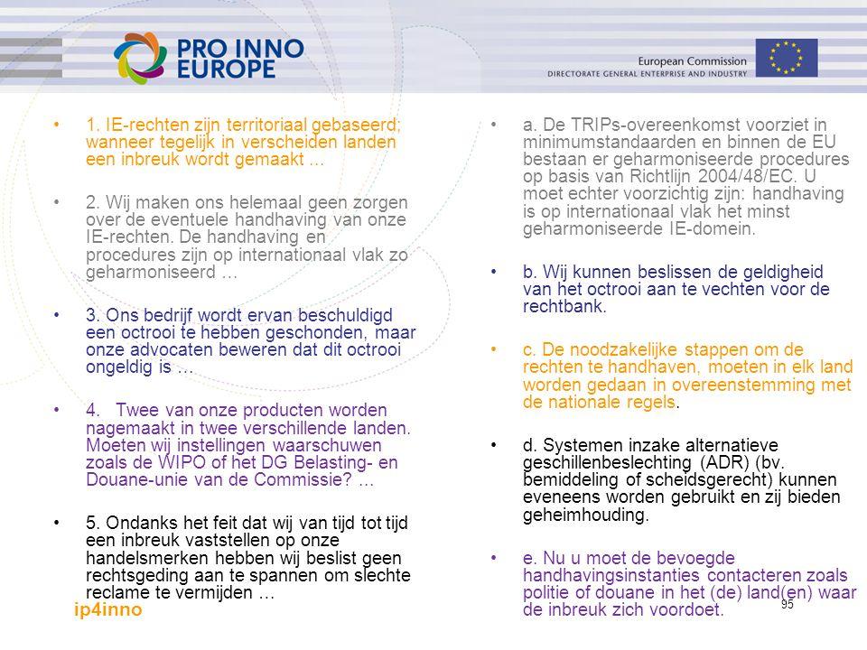ip4inno 95 1. IE-rechten zijn territoriaal gebaseerd; wanneer tegelijk in verscheiden landen een inbreuk wordt gemaakt... 2. Wij maken ons helemaal ge