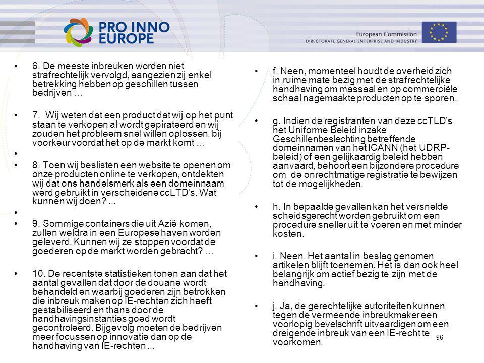 ip4inno 96 6. De meeste inbreuken worden niet strafrechtelijk vervolgd, aangezien zij enkel betrekking hebben op geschillen tussen bedrijven … 7. Wij