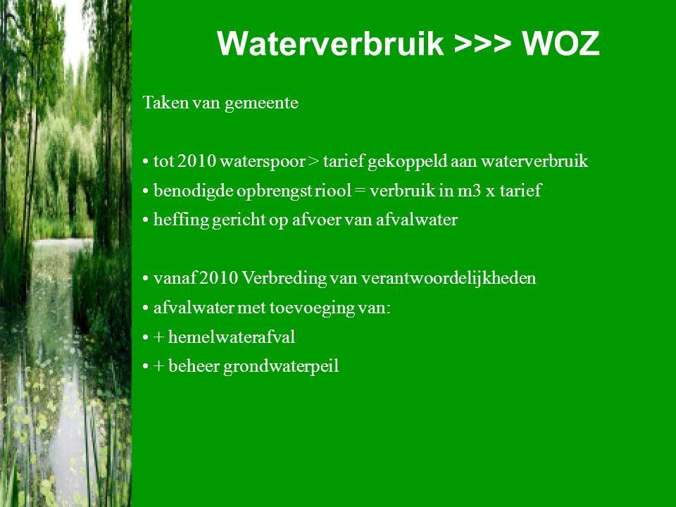 Waterverbruik >>> WOZ Taken van gemeente tot 2010 waterspoor > tarief gekoppeld aan waterverbruik benodigde opbrengst riool = verbruik in m3 x tarief heffing gericht op afvoer van afvalwater vanaf 2010 Verbreding van verantwoordelijkheden afvalwater met toevoeging van: + hemelwaterafval + beheer grondwaterpeil