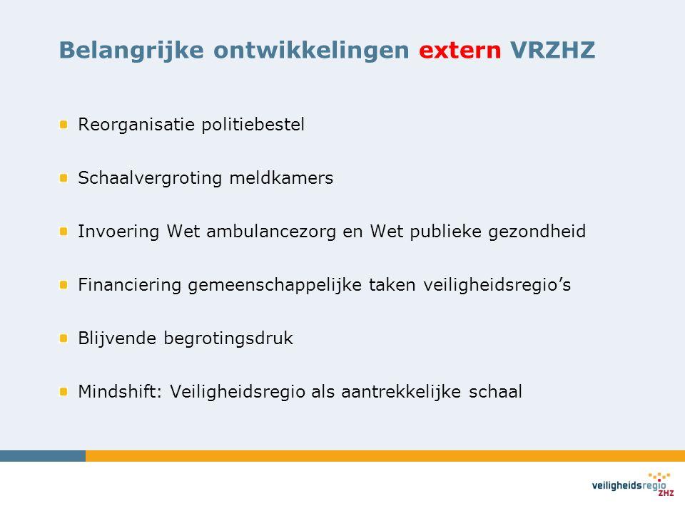 Belangrijke ontwikkelingen extern VRZHZ Reorganisatie politiebestel Schaalvergroting meldkamers Invoering Wet ambulancezorg en Wet publieke gezondheid Financiering gemeenschappelijke taken veiligheidsregio's Blijvende begrotingsdruk Mindshift: Veiligheidsregio als aantrekkelijke schaal