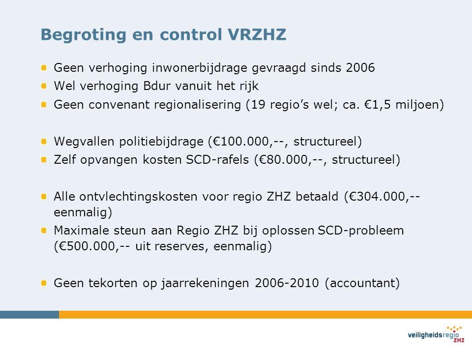 Begroting en control VRZHZ Geen verhoging inwonerbijdrage gevraagd sinds 2006 Wel verhoging Bdur vanuit het rijk Geen convenant regionalisering (19 re