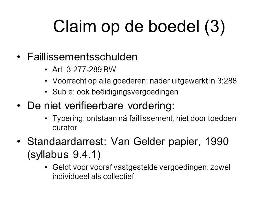 Claim op de boedel (3) Faillissementsschulden Art.