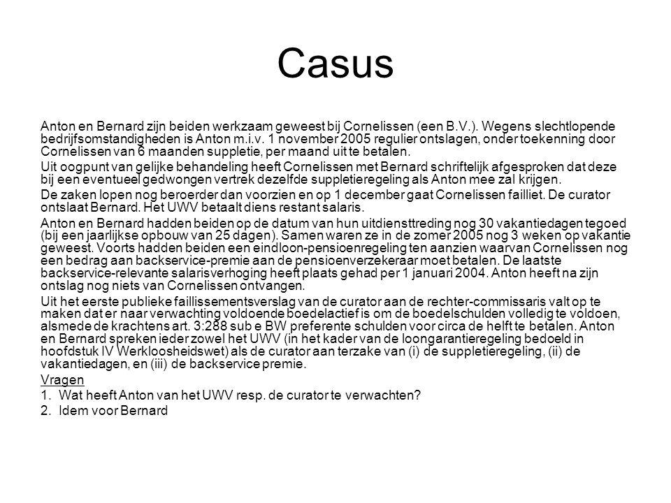 Casus Anton en Bernard zijn beiden werkzaam geweest bij Cornelissen (een B.V.).