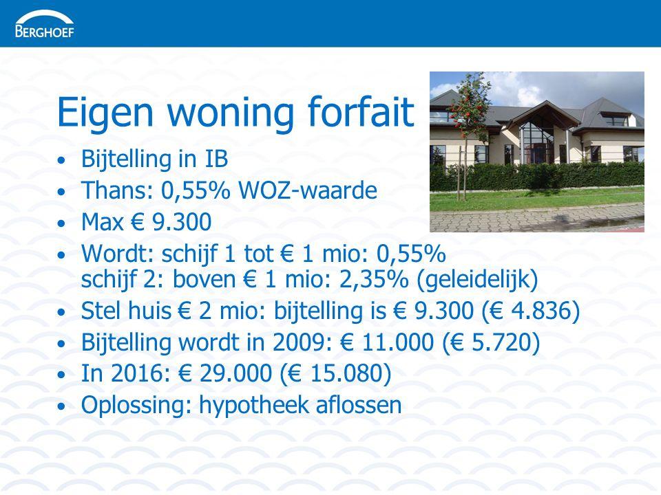 Eigen woning forfait Bijtelling in IB Thans: 0,55% WOZ-waarde Max € 9.300 Wordt: schijf 1 tot € 1 mio: 0,55% schijf 2: boven € 1 mio: 2,35% (geleidelijk) Stel huis € 2 mio: bijtelling is € 9.300 (€ 4.836) Bijtelling wordt in 2009: € 11.000 (€ 5.720) In 2016: € 29.000 (€ 15.080) Oplossing: hypotheek aflossen