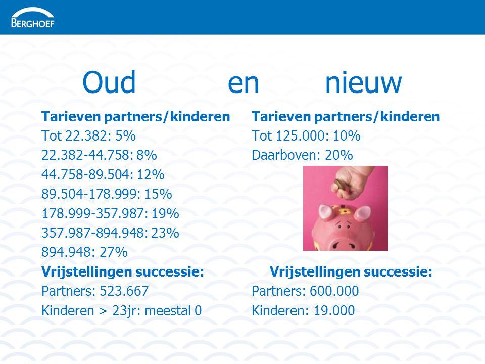 Oud en nieuw Tarieven partners/kinderen Tot 22.382: 5% 22.382-44.758: 8% 44.758-89.504: 12% 89.504-178.999: 15% 178.999-357.987: 19% 357.987-894.948: 23% 894.948: 27% Vrijstellingen successie: Partners: 523.667 Kinderen > 23jr: meestal 0 Tarieven partners/kinderen Tot 125.000: 10% Daarboven: 20% Vrijstellingen successie: Partners: 600.000 Kinderen: 19.000