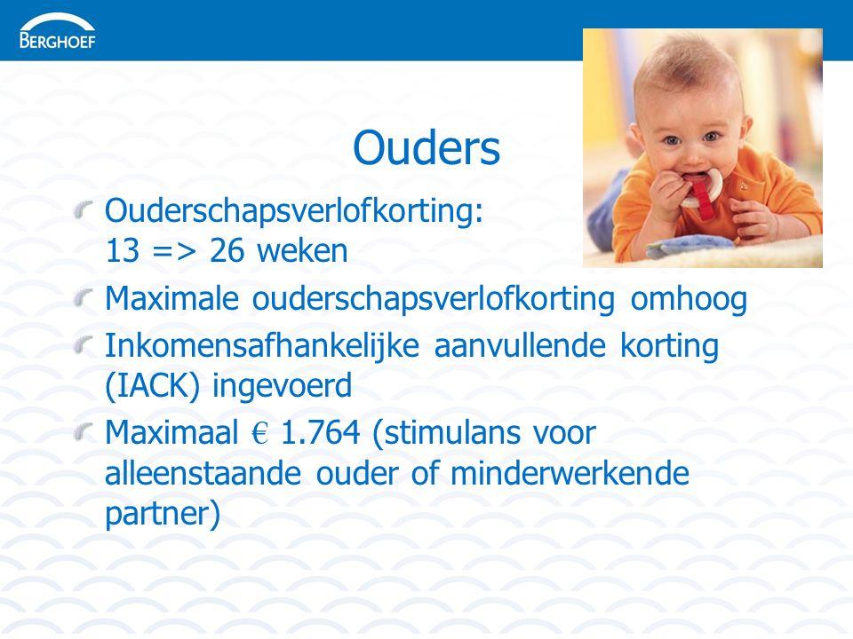 Ouders Ouderschapsverlofkorting: 13 => 26 weken Maximale ouderschapsverlofkorting omhoog Inkomensafhankelijke aanvullende korting (IACK) ingevoerd Maximaal € 1.764 (stimulans voor alleenstaande ouder of minderwerkende partner)