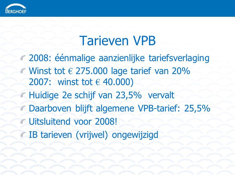 Tarieven VPB 2008: éénmalige aanzienlijke tariefsverlaging Winst tot € 275.000 lage tarief van 20% 2007: winst tot € 40.000) Huidige 2e schijf van 23,5% vervalt Daarboven blijft algemene VPB-tarief: 25,5% Uitsluitend voor 2008.
