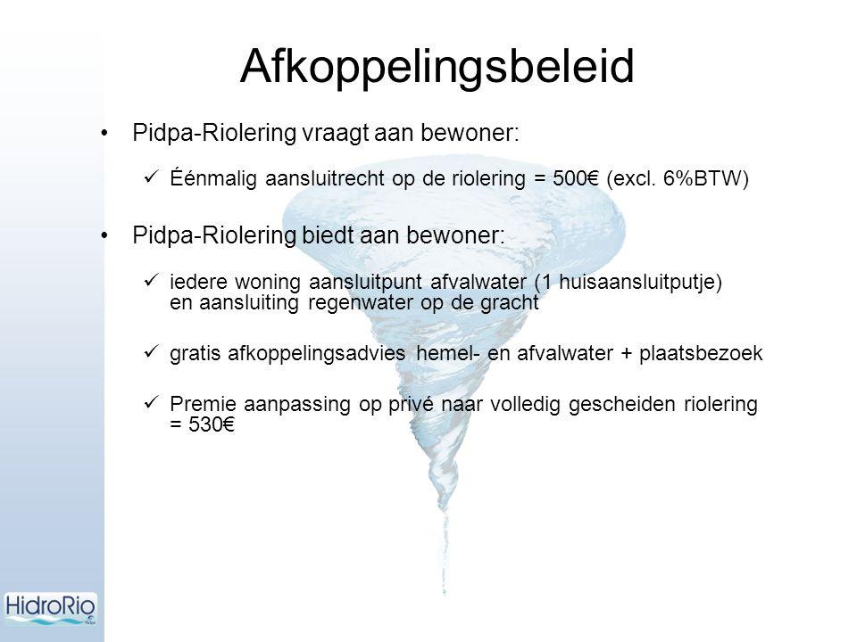 Pidpa-Riolering vraagt aan bewoner: Éénmalig aansluitrecht op de riolering = 500€ (excl. 6%BTW) Pidpa-Riolering biedt aan bewoner: iedere woning aansl