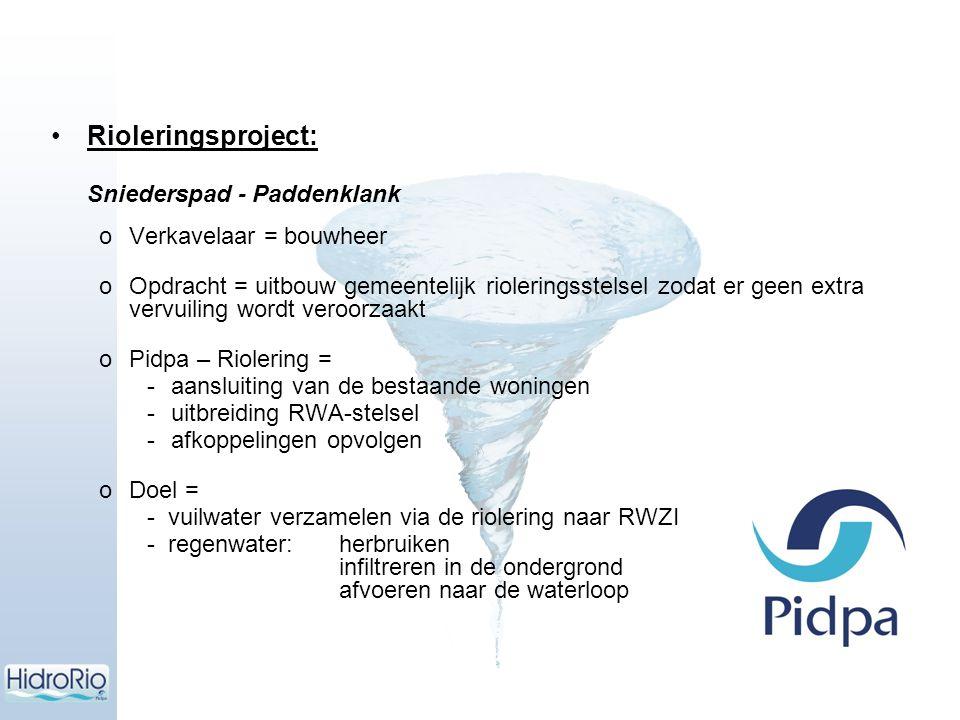 Rioleringsproject: Sniederspad - Paddenklank oVerkavelaar = bouwheer oOpdracht = uitbouw gemeentelijk rioleringsstelsel zodat er geen extra vervuiling
