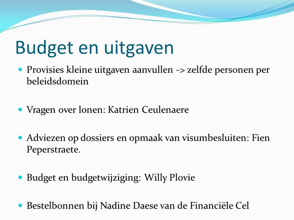 Budget en uitgaven Provisies kleine uitgaven aanvullen -> zelfde personen per beleidsdomein Vragen over lonen: Katrien Ceulenaere Adviezen op dossiers en opmaak van visumbesluiten: Fien Peperstraete.