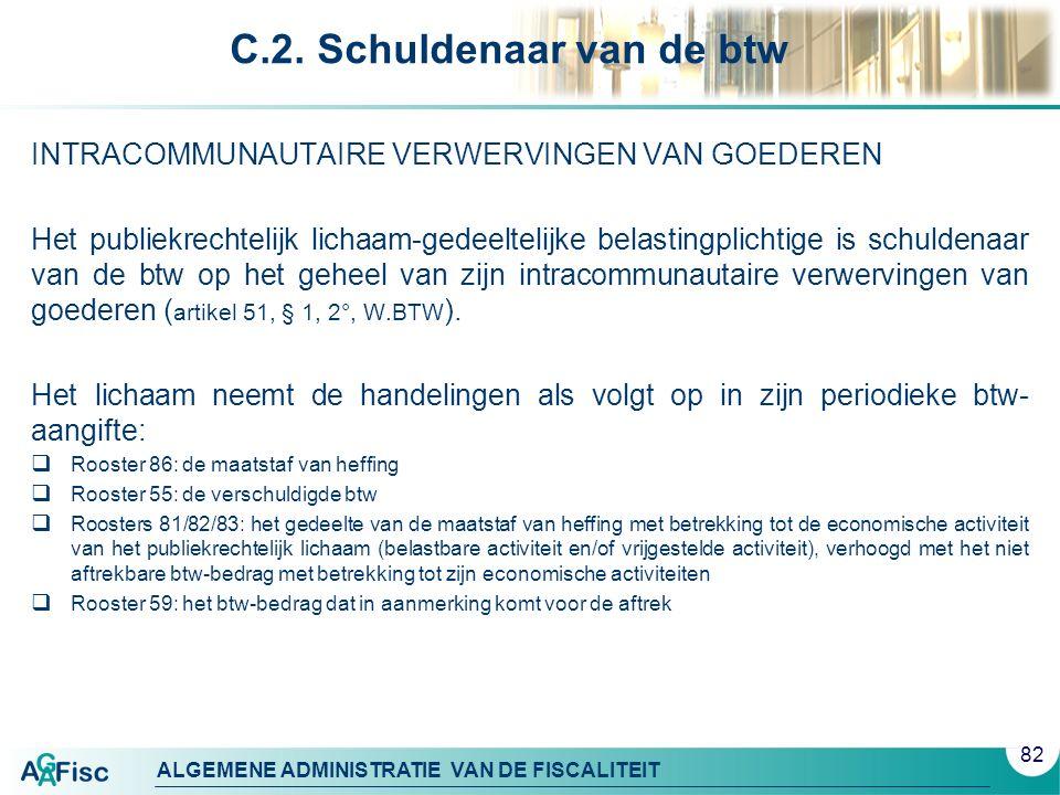 ALGEMENE ADMINISTRATIE VAN DE FISCALITEIT C.2. Schuldenaar van de btw INTRACOMMUNAUTAIRE VERWERVINGEN VAN GOEDEREN Het publiekrechtelijk lichaam-gedee