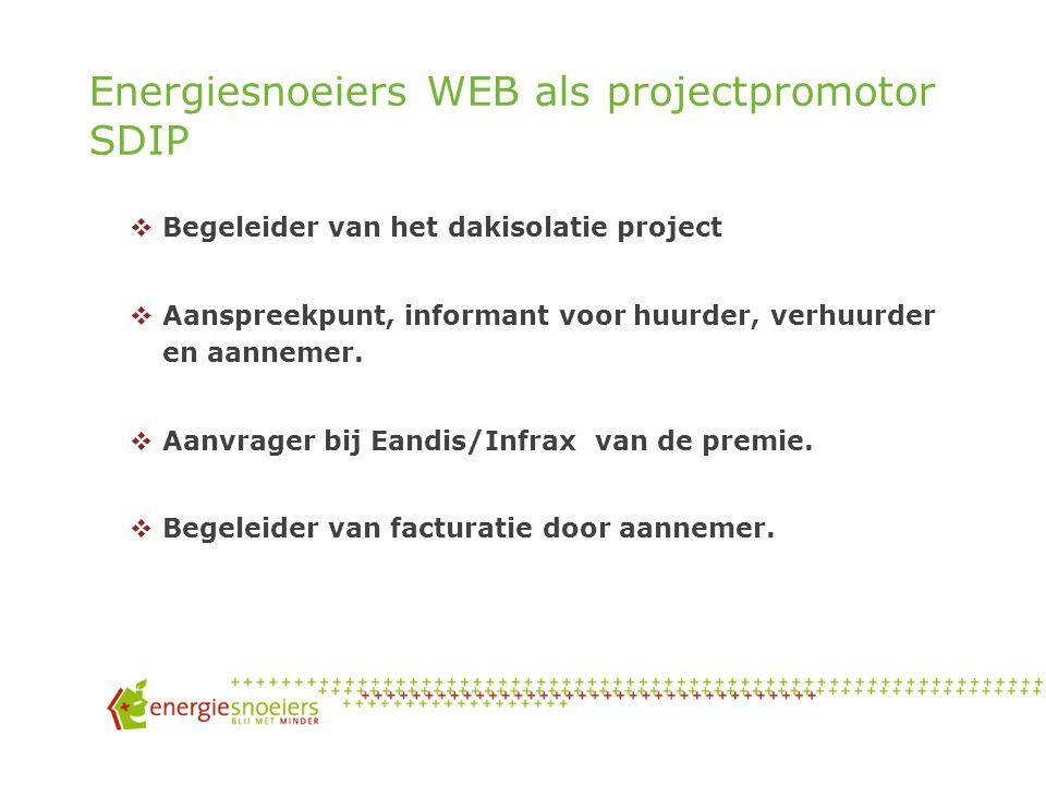 Energiesnoeiers WEB als projectpromotor SDIP  Begeleider van het dakisolatie project  Aanspreekpunt, informant voor huurder, verhuurder en aannemer.