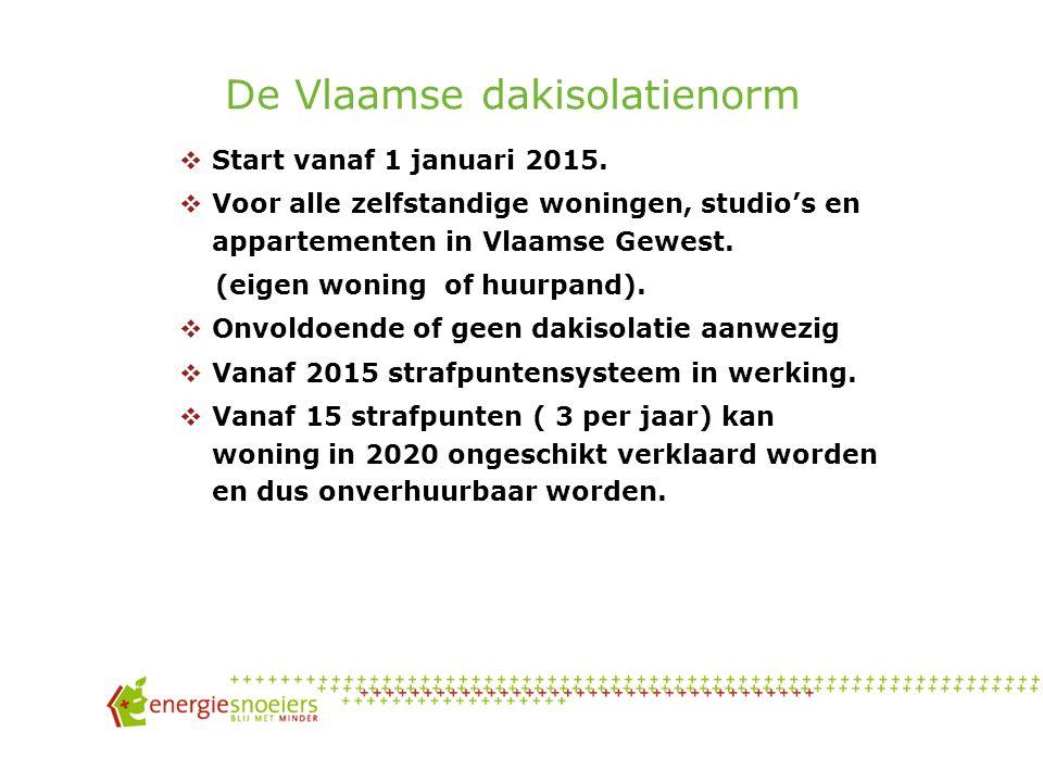 De Vlaamse dakisolatienorm  Start vanaf 1 januari 2015.