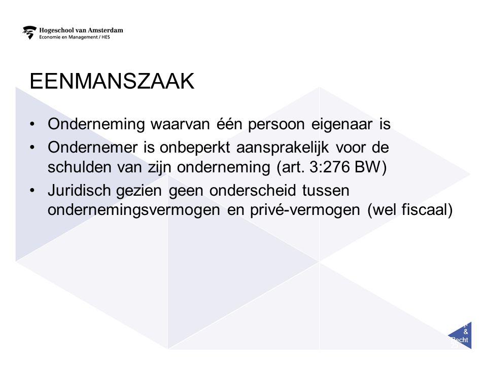 Bedrijf & Recht 25 EENMANSZAAK Onderneming waarvan één persoon eigenaar is Ondernemer is onbeperkt aansprakelijk voor de schulden van zijn onderneming