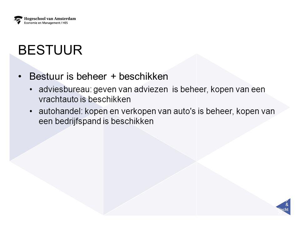 Bedrijf & Recht 29 BESTUUR Bestuur is beheer + beschikken adviesbureau: geven van adviezen is beheer, kopen van een vrachtauto is beschikken autohandel: kopen en verkopen van auto s is beheer, kopen van een bedrijfspand is beschikken