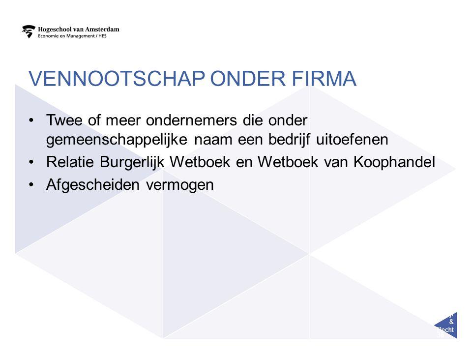 Bedrijf & Recht 36 VENNOOTSCHAP ONDER FIRMA Twee of meer ondernemers die onder gemeenschappelijke naam een bedrijf uitoefenen Relatie Burgerlijk Wetbo