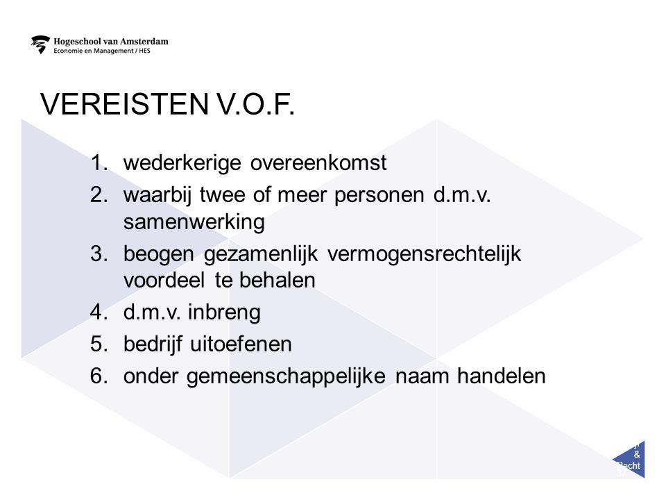 Bedrijf & Recht 37 VEREISTEN V.O.F. 1.wederkerige overeenkomst 2.waarbij twee of meer personen d.m.v. samenwerking 3.beogen gezamenlijk vermogensrecht