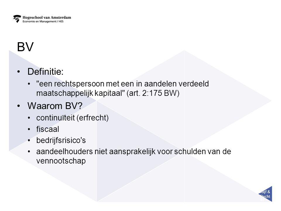 Bedijf & Recht 49 BV Definitie: een rechtspersoon met een in aandelen verdeeld maatschappelijk kapitaal (art.