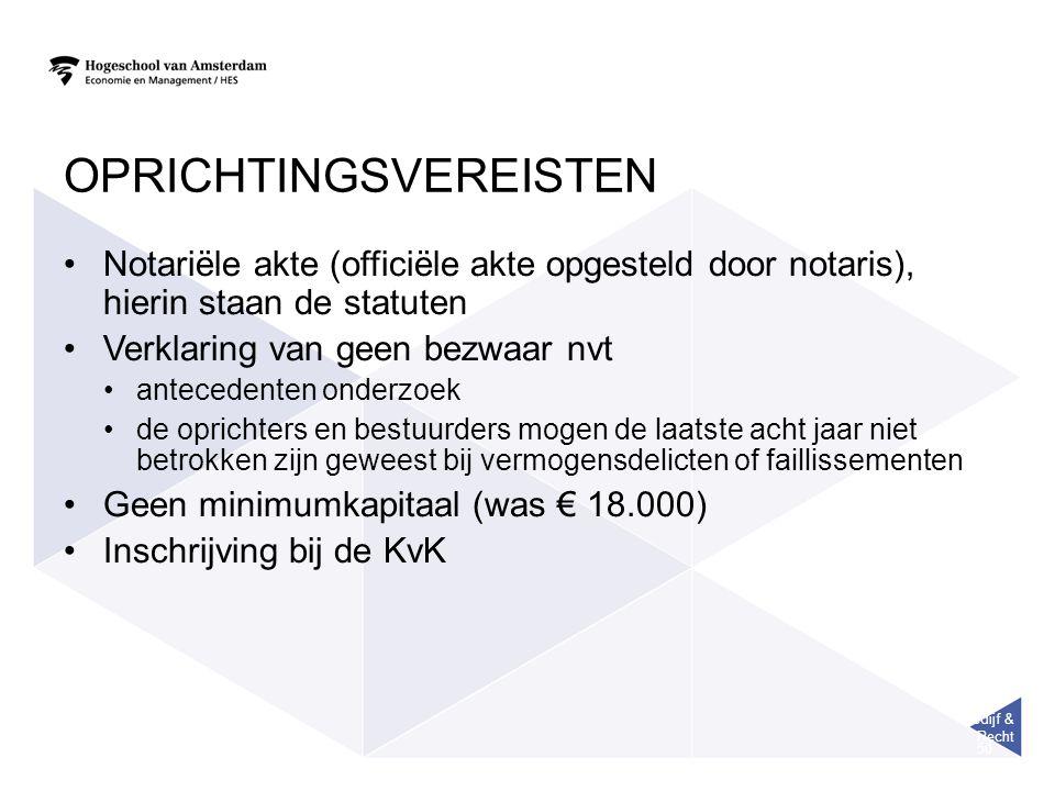 Bedijf & Recht 50 OPRICHTINGSVEREISTEN Notariële akte (officiële akte opgesteld door notaris), hierin staan de statuten Verklaring van geen bezwaar nv