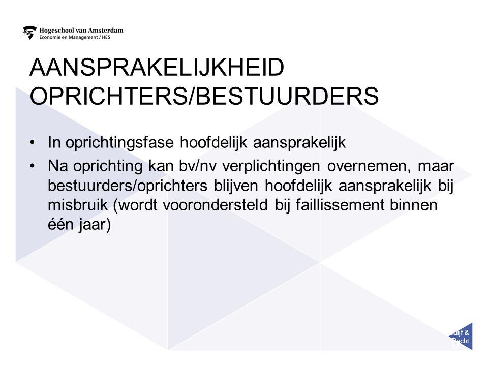 Bedijf & Recht 52 AANSPRAKELIJKHEID OPRICHTERS/BESTUURDERS In oprichtingsfase hoofdelijk aansprakelijk Na oprichting kan bv/nv verplichtingen overneme