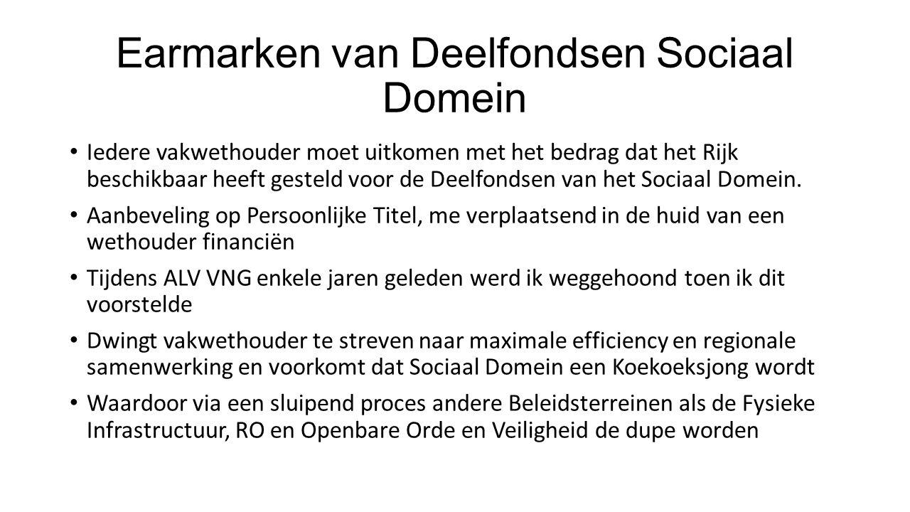 Earmarken van Deelfondsen Sociaal Domein Iedere vakwethouder moet uitkomen met het bedrag dat het Rijk beschikbaar heeft gesteld voor de Deelfondsen van het Sociaal Domein.
