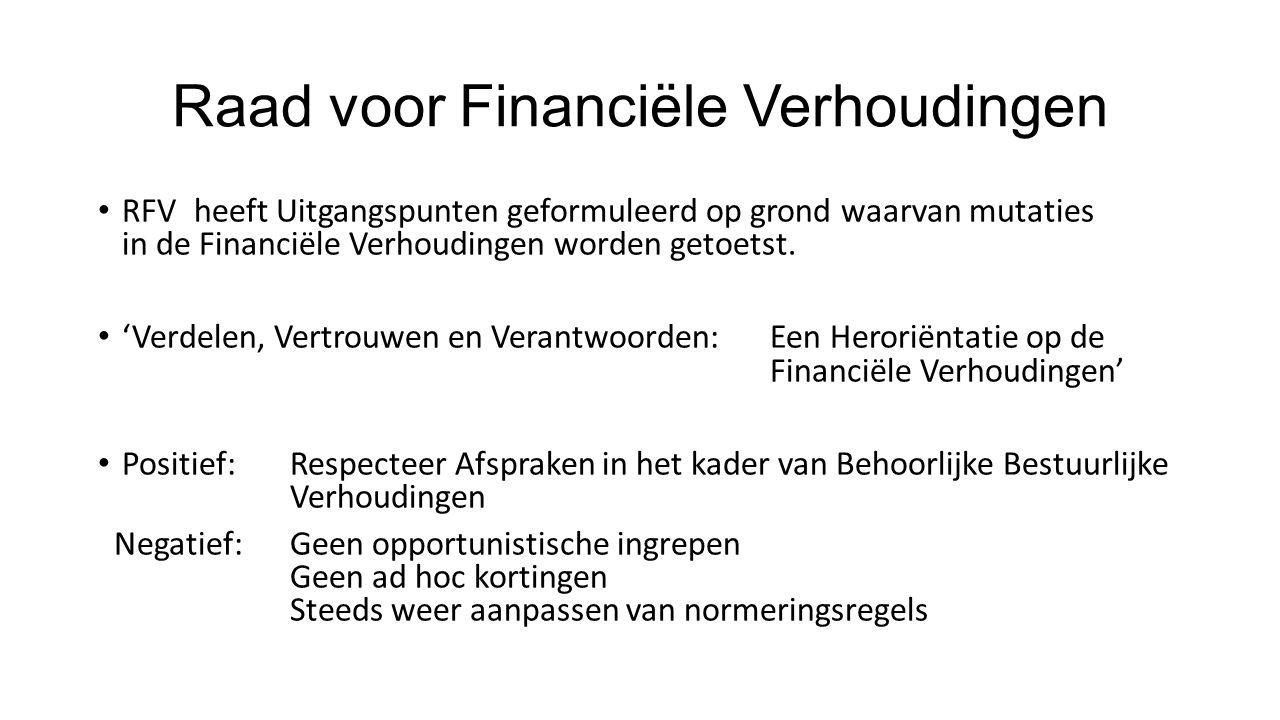 Raad voor Financiële Verhoudingen RFV heeft Uitgangspunten geformuleerd op grond waarvan mutaties in de Financiële Verhoudingen worden getoetst.