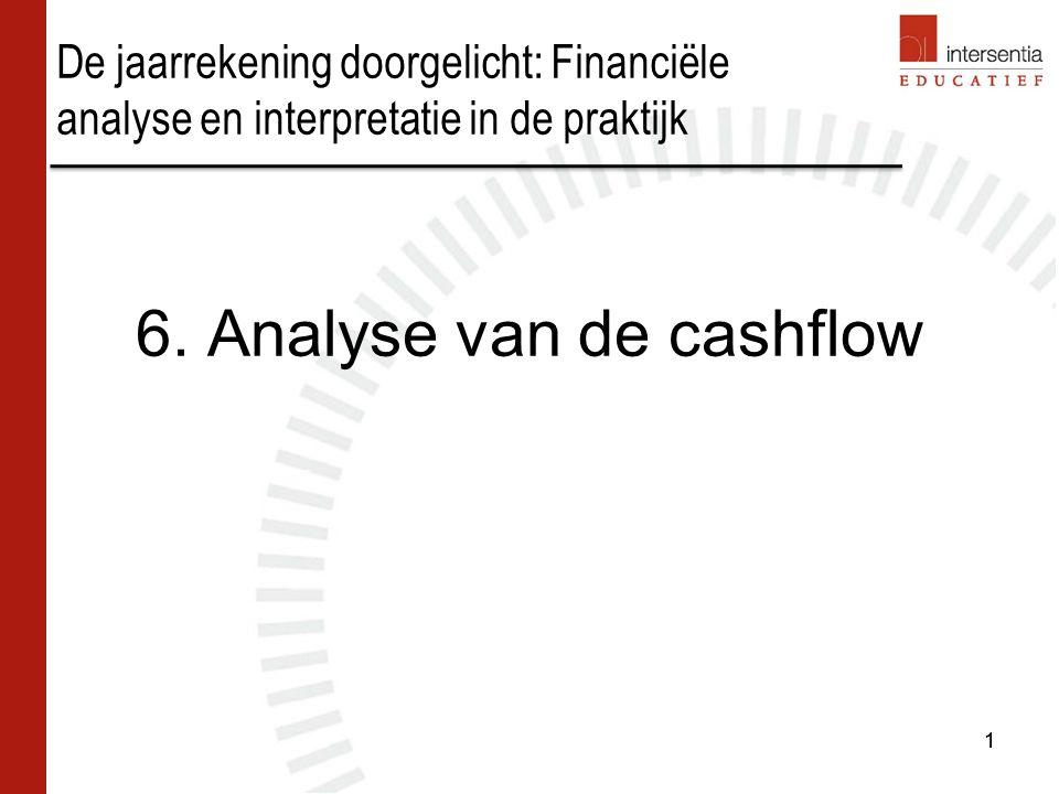 Analyse van de cashflow DIRECTE METHODE: betekenis van het begrip cashflow is duidelijk, maar gegevens niet beschikbaar in de jaarrekening Cashflow = inkomsten - uitgaven 2